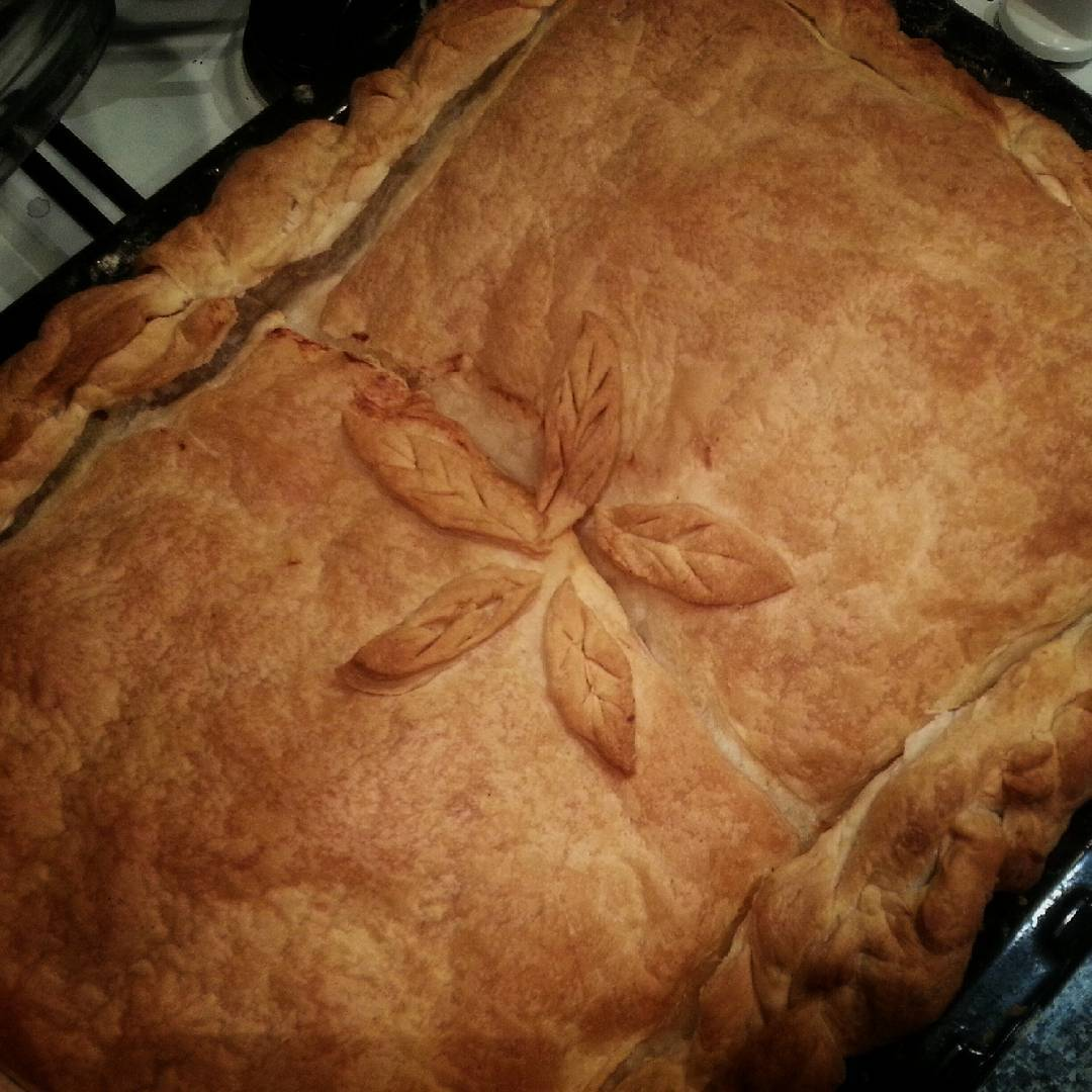 M. made Leek & Cheese pie.  #greekfood #pie #cheese #feta #leeks